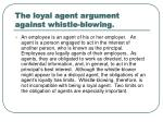 The loyal agent argument against whistle-blowing .