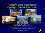TransLink's role in supporting Cycling in Greater Vancouver
