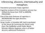 Inferencing , allusions, intertextuality and metaphors