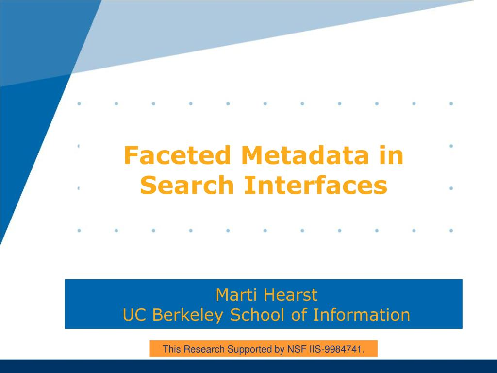 faceted metadata in search interfaces l.