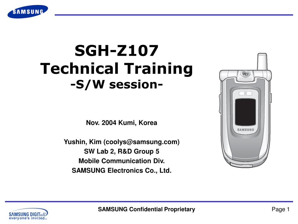 sgh z107 technical training s w session l.