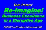 Tom Peters' Re-Imagine! Business Excellence in a Disruptive Age SHORT.TourD'Horizon.14February.2005