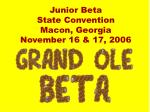 Junior Beta State Convention Macon, Georgia November 16 & 17, 2006