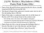 [1](34): Revlon v. MacAndrews (1986) Pantry Pride Tender Offer