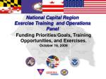 National Capital Region Exercise Training and Operations Panel