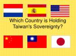 Which Country is Holding Taiwan's Sovereignty?