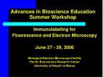 Advances in Bioscience Education Summer Workshop