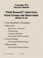 """""""Field Research"""": Interviews, Focus Groups and Observation (Babbie Ch 10)"""