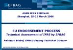 EU ENDORSEMENT PROCESS Technical Assessment of IFRS by EFRAG