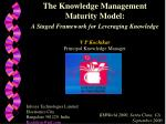 The Knowledge Management Maturity Model: A Staged Framework for Leveraging Knowledge V P Kochikar Principal Knowledge Ma