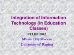 Integration of Information Technology (in Education Classes)