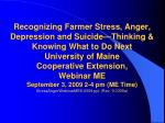 Recognizing Farmer Stress, Anger, Depression and Suicide—Thinking & Knowing What to Do Next