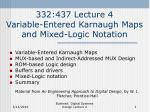 332:437 Lecture 4 Variable-Entered Karnaugh Maps and Mixed-Logic Notation
