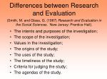 Differences between Research and Evaluation (Smith, M. and Glass, G. (1987) Research and Evaluation in the Social Scien