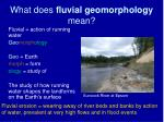 What does fluvial geomorphology mean?