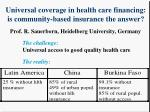 Universal coverage in health care financing:  is community-based insurance the answer?