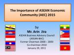 The Importance of ASEAN Economic Community (AEC) 2015