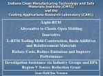Indiana Clean Manufacturing Technology and Safe Materials Institute (CMTI) and the Coating Applications Research Laborat