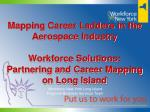 Mapping Career Ladders in the Aerospace Industry Workforce Solutions: Partnering and Career Mapping on Long Island