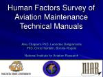 Human Factors Survey of Aviation Maintenance Technical Manuals