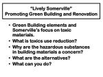"""""""Lively Somerville"""" Promoting Green Building and Renovation"""