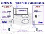 Continuity  -  F ixed Mobile Convergence