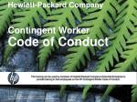 Hewlett-Packard Company Contingent Worker Code of Conduct