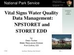 Vital Signs Water Quality Data Management: NPSTORET and STORET EDD
