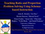 Teaching Ratio and Proportion Problem Solving Using Schema-based Instruction