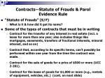 Contracts--Statute of Frauds & Parol Evidence Rule