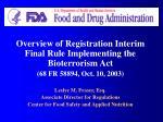 Overview of Registration Interim Final Rule Implementing the Bioterrorism Act (68 FR 58894, Oct. 10, 2003) Leslye M. Fra