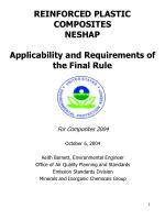 REINFORCED PLASTIC COMPOSITES NESHAP Applicability and Requirements of the Final Rule