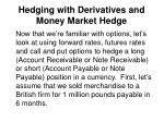 Hedging with Derivatives and Money Market Hedge