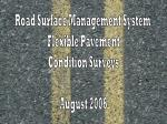Road Surface Management System Flexible Pavement Condition Surveys August 2006