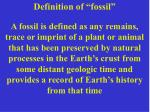"""Definition of """"fossil"""""""