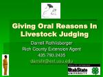Giving Oral Reasons In Livestock Judging
