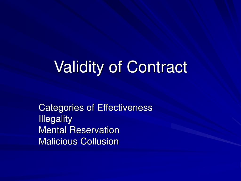 validity of contract l.