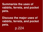 Summarize the uses of rabbits, ferrets, and pocket pets. Discuss the major uses of rabbits, ferrets, and pocket pets.