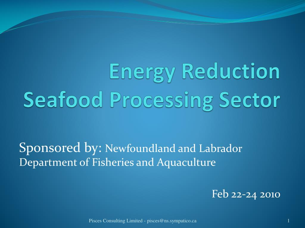 energy reduction seafood processing sector l.