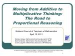 Moving from Additive to Multiplicative Thinking: The Road to Proportional Reasoning