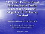 A Proposed Evidence Based Shoulder Special Testing Examination Algorithm: Adaptation of a Reference Standard