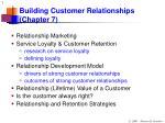 Building Customer Relationships (Chapter 7)