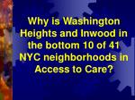 Why is Washington Heights and Inwood in the bottom 10 of 41 NYC neighborhoods in Access to Care?