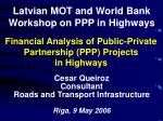 Financial Analysis of Public-Private Partnership (PPP) Projects in Highways