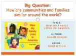 Big Question: How are communities and families similar around the world?