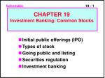 Initial public offerings (IPO) Types of stock Going public and listing Securities regulation Investment banking