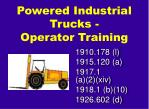 Powered Industrial Trucks - Operator Training