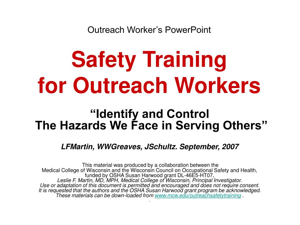 outreach worker s powerpoint safety training for outreach workers l.