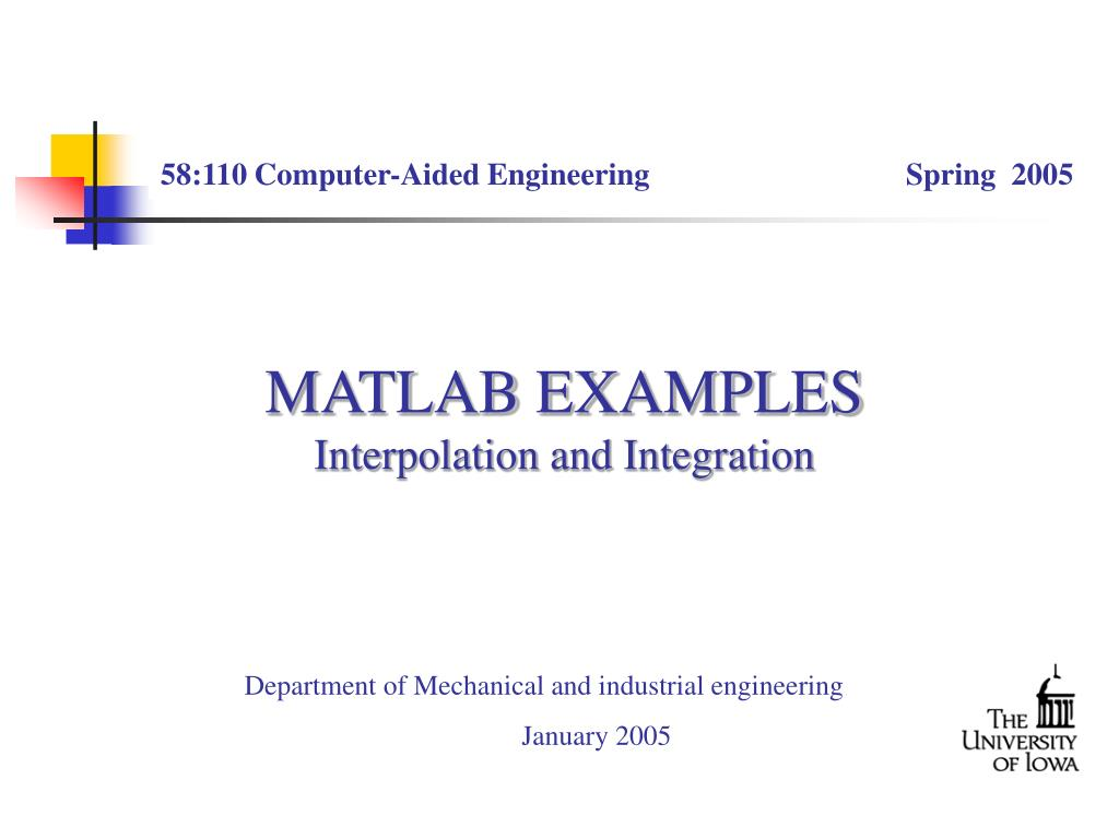 PPT - MATLAB EXAMPLES Interpolation and Integration