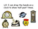 LO: I can draw the hands on a clock to show 'half past' times.